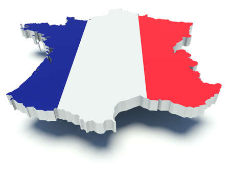 Kaart van Frankrijk met vlag kleuren. 3D render illustratie. Stockfoto