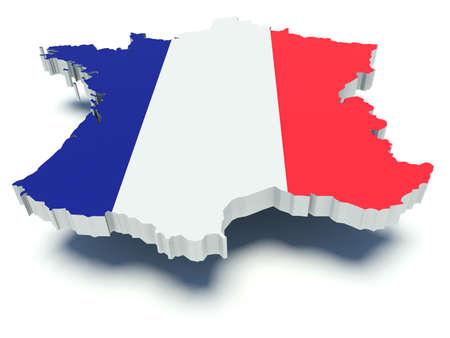 Map of France with flag colors. 3d render illustration.