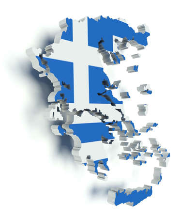 greece flag: Map of Greece with flag colors. 3d render illustration.