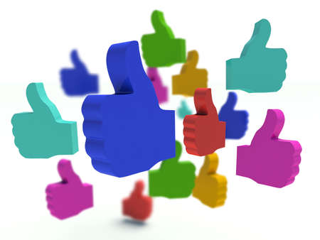 Great: Group of colorful thumbs up signs. 3d render illustration.