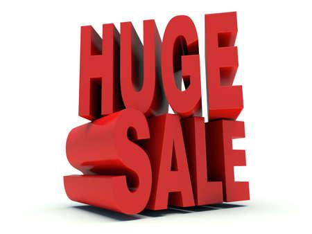 Advertising words Huge Sale. 3d render illustration.