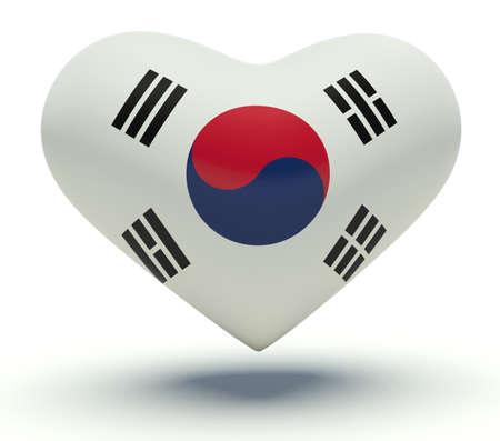 Heart with South Korea flag colors. 3d render illustration.