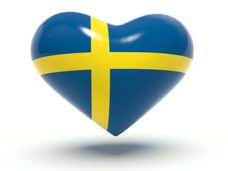 bandera suecia: Coraz�n con colores de la bandera de Suecia. 3d ilustraci�n. Foto de archivo