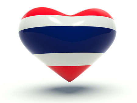 Heart with Thailand flag colors. 3d render illustration. illustration