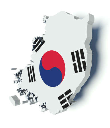 territories: Map of South Korea with flag colors. 3d render illustration.