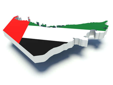 Map of United Arab Emirates with flag colors. 3d render illustration. Фото со стока