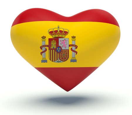 spanish flag: Heart with Spanish flag colors. 3d render illustration.
