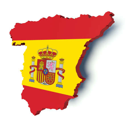 Map of Spain with flag colors. 3d render illustration.