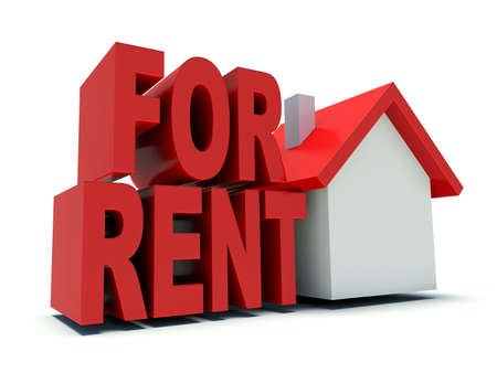 illustration for advertising: House for rent. Real estate advertising symbol. 3d render illustration. Stock Photo
