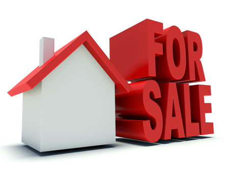 house for sale: House for sale. Real estate advertising symbol. 3d render illustration.