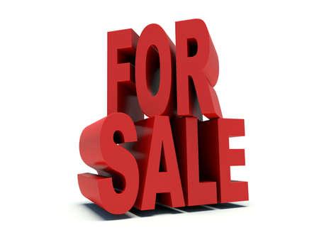Advertising words For sale in red. 3d render illustration. illustration