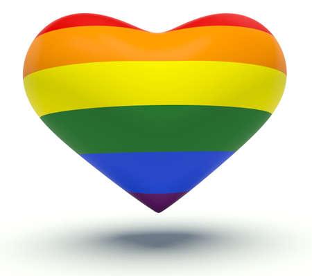 bandera gay: Corazón con colores del arco iris. 3d Ilustración.
