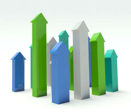 sales occupation: Group of arrows. 3d render illustration. Stock Photo