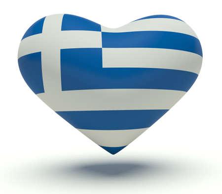 Heart with Greece flag colors. 3d render illustration. illustration