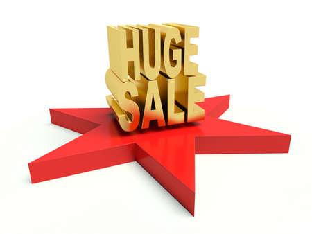 Advertising golden words Huge Sale on star. 3d render illustration.