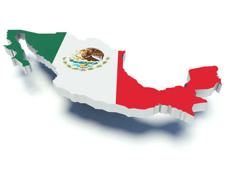 Map of Mexico with flag colors. 3d render illustration. 스톡 콘텐츠