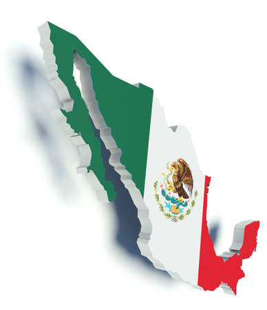 Map of Mexico with flag colors. 3d render illustration. illustration
