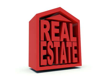 Real Estate symbol in red. 3d render illustration. illustration