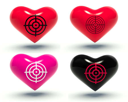 love target: Set of hearts with target. 3d render illustration.