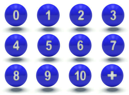 web 2 0: Blue ball numbers 0 to 10. 3d render illustration.