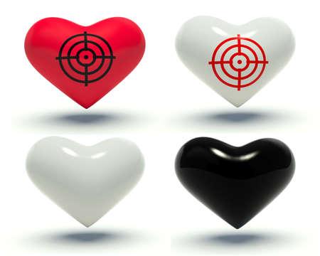 reticle: Set of hearts. 3d render illustration.