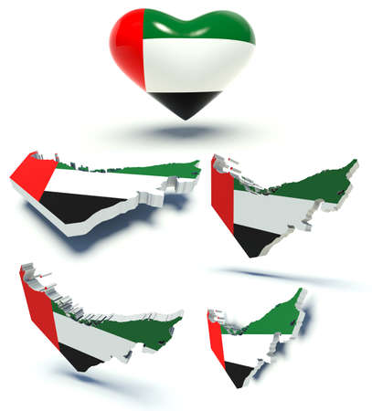emirates: Set of maps of the United Arab Emirates and heart with emirati flag colors. 3d render illustration. Stock Photo