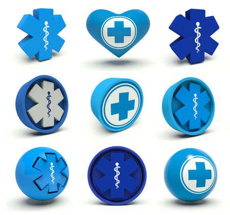 Set of first aid medical cross signs. 3d render illustration. illustration