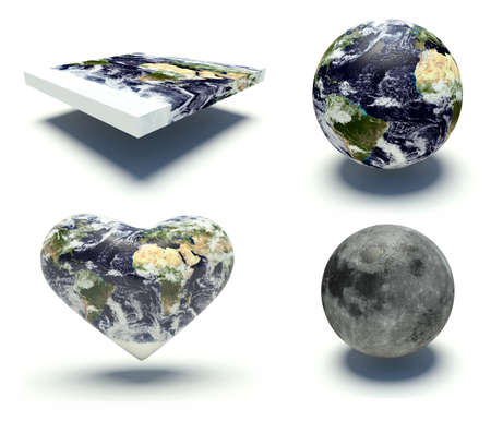 representation: Set of illustrations of the Planet Earth with different shapes and the moon. 3d render illustration