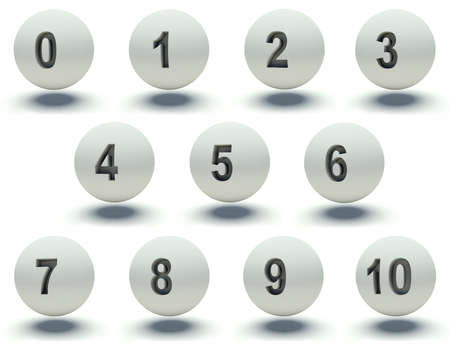 Set of white balls. Numbers 0 to 10. 3d render illustration. illustration