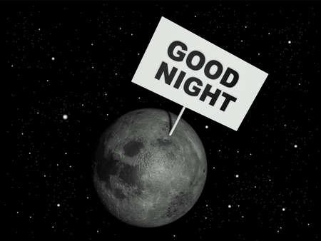 buonanotte: Message board sulla luna con le parole di testo Buonanotte. Illustrazione di rendering 3D. Archivio Fotografico