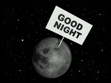 Message board on moon with the text words Good night. 3d render illustration.