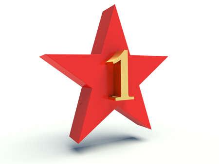Number one on star. 3d render illustration.