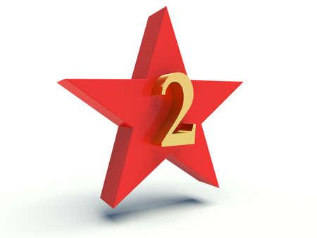 Number two on star. 3d render illustration. illustration
