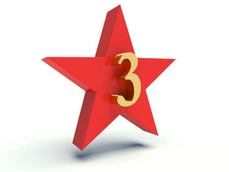 Number three on star. 3d render illustration. illustration