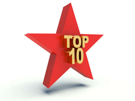 Words Top 10 on star. 3d render illustration.