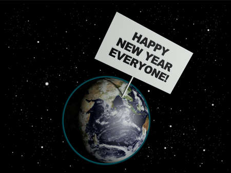 Message board on earth with the text words Happy New Year Everyone. 3d render. Elements of this image furnished by NASA. photo