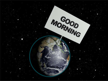 worldwide wish: Message board on earth with the text words Good Morning. 3d render. Elements of this image furnished by NASA. Stock Photo