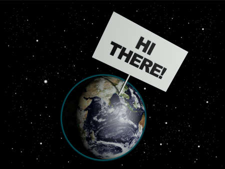 there: Message board on earth with the text words Hi There. 3d render. Elements of this image furnished by NASA.