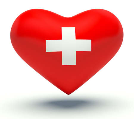 switzerland flag: Heart with Switzerland flag colors. 3d render illustration.