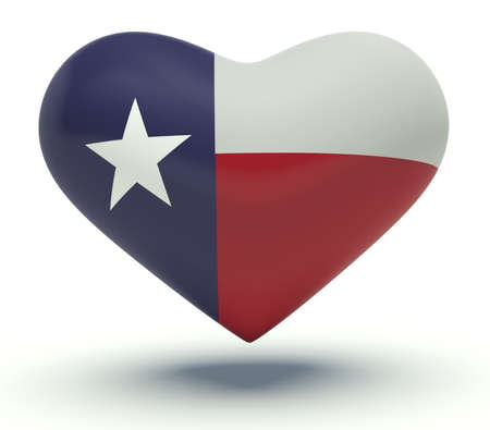 Heart with Texas flag colors (the Lone Star Flag). 3d render illustration.