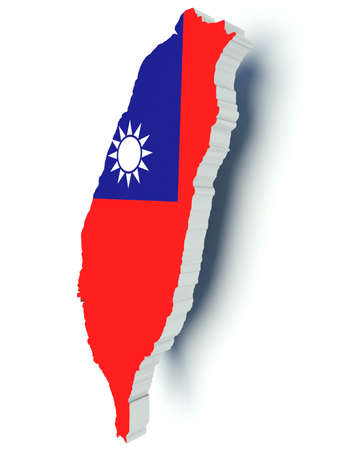 taiwanese: Map of Taiwan with flag colors. 3d render illustration. Stock Photo