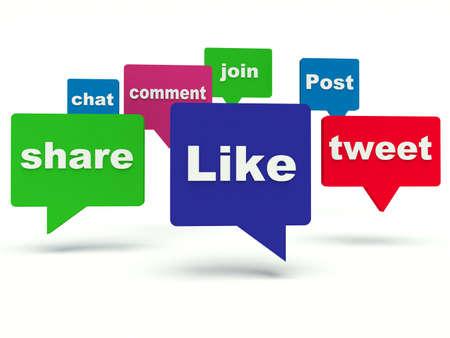 Social media bubble speech. 3d render illustration. Stock Illustration - 34406081