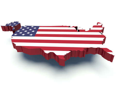 Map of the United States of America with flag colors. 3d render illustration. illustration