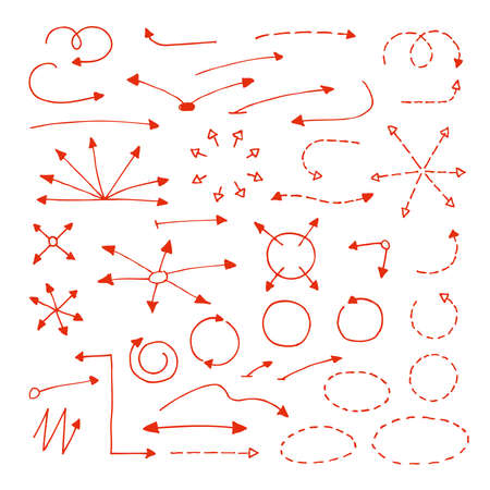 Set of hand drawn arrows, circles, dash line elements. Vector
