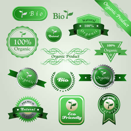 Set of badges. Premium quality, natural, eco friendly, 100% organic product, bio. Labels collection. Vector