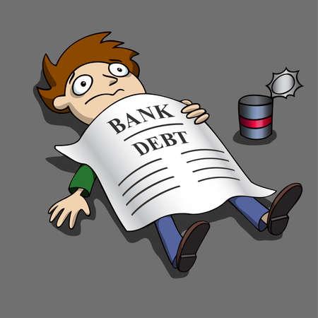 broke: Broke. Bank debt. Illustration