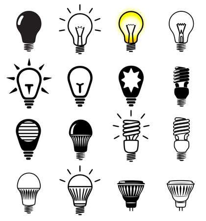 Zestaw ikon światła żarówki. Ilustracji wektorowych.