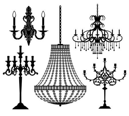 Set of candlesticks and chandeliers. Vector illustration.