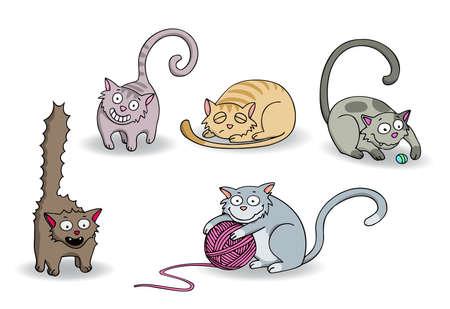 purring: Set of cute cartoon cats. Vector illustration. Illustration