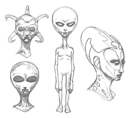 Set of alien portraits. Vector